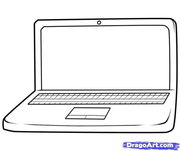 Как нарисовать Ноутбук карандашом поэтапно