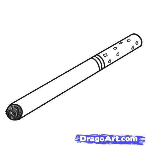 Как нарисовать Сигарету карандашом поэтапно