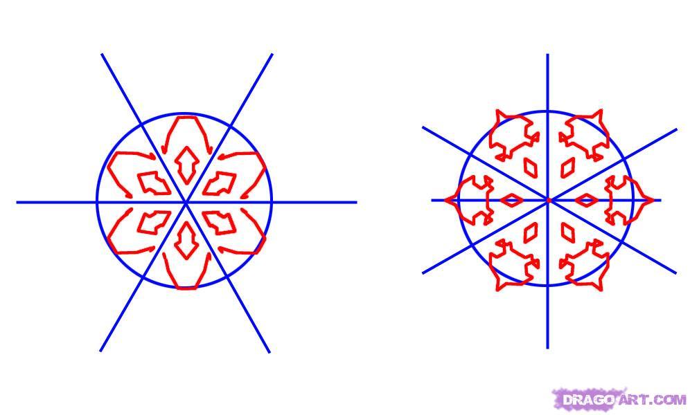 Как нарисовать снежинки карандашом поэтапно