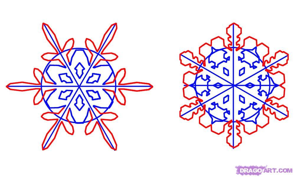 Рисуем снежинку - шаг 3
