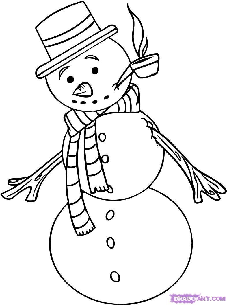 Рисуем снеговика   для начинающих - шаг 5