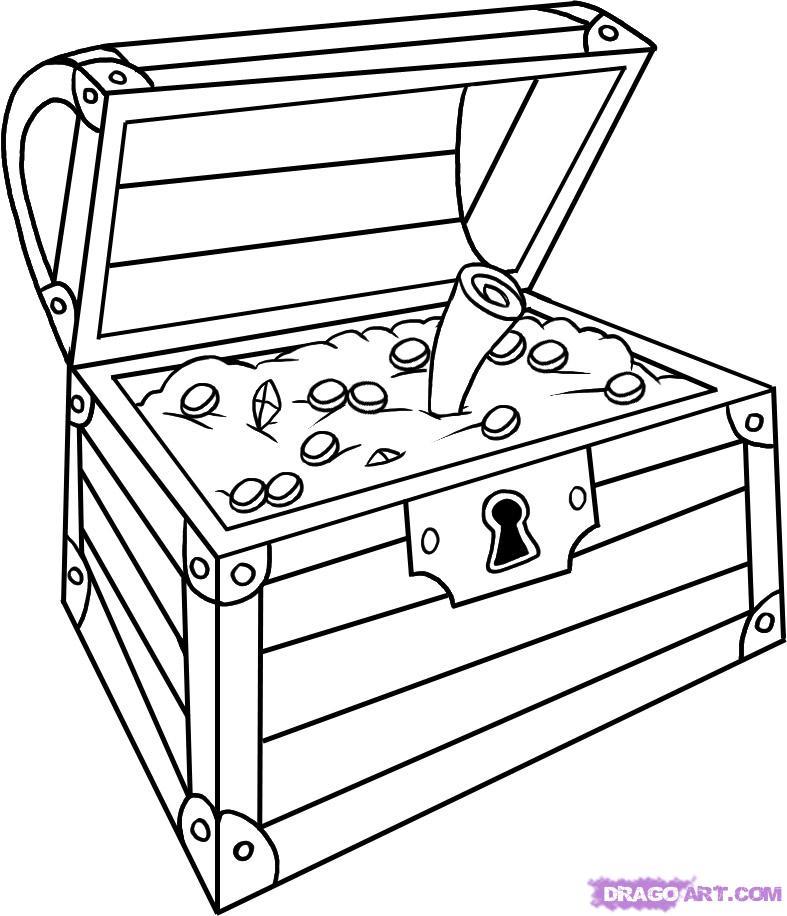 Как нарисовать сундук с сокровищами карандашом поэтапно