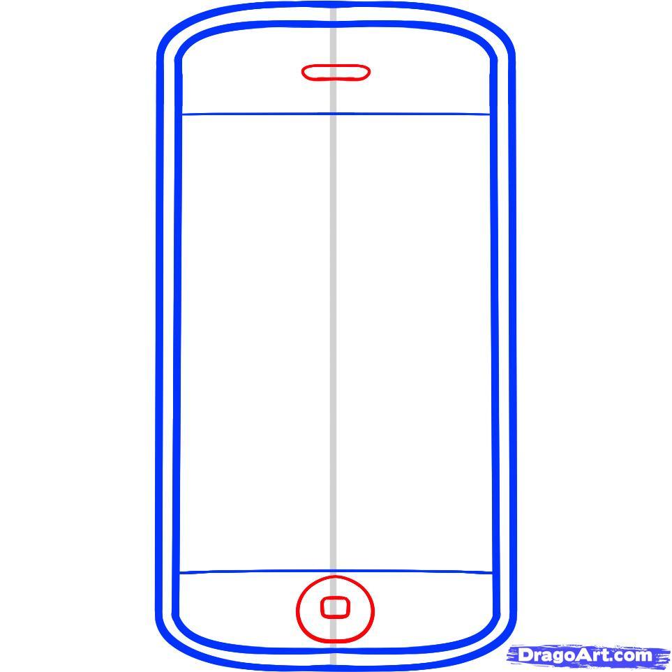 Рисуем телефон iPhone - шаг 4