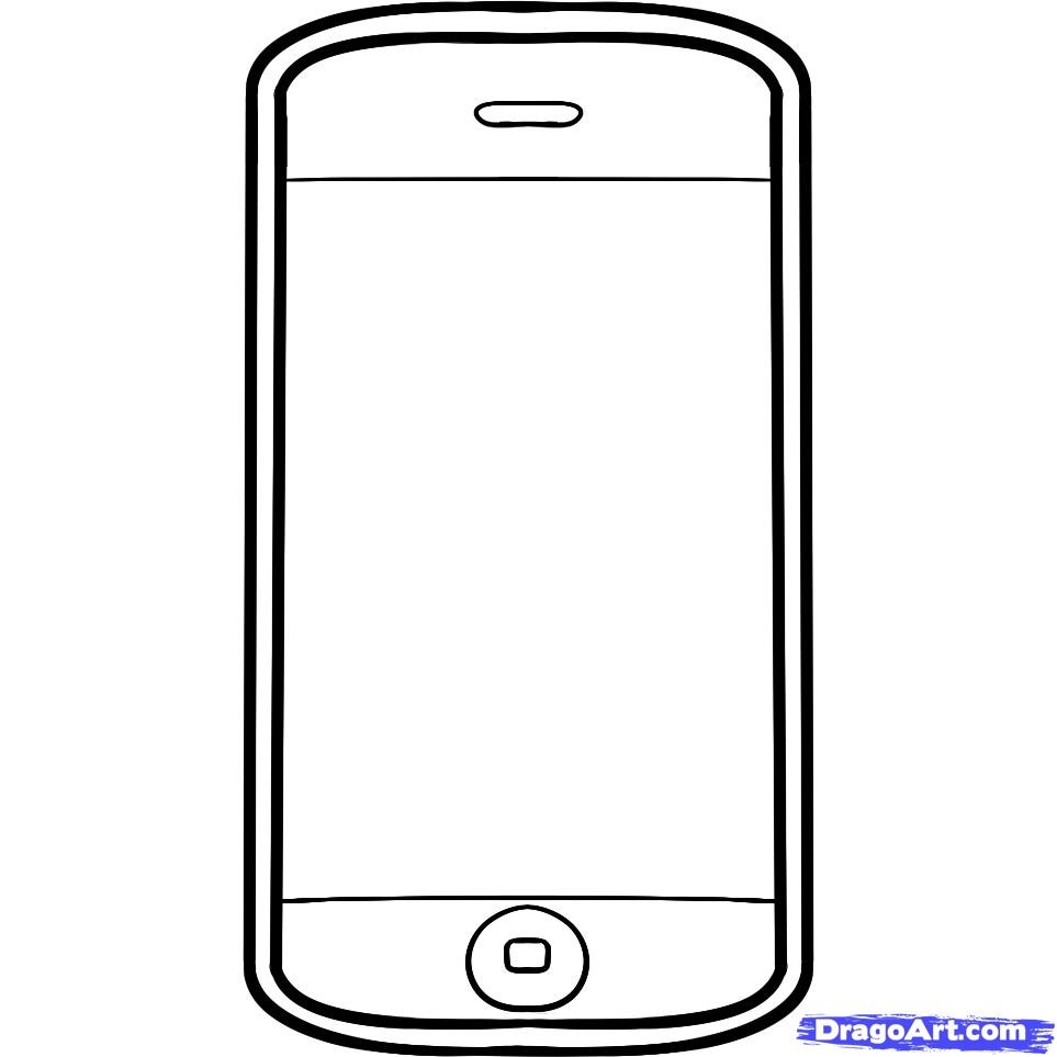 Как нарисовать телефон iPhone карандашом поэтапно