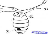 Улей с пчелами карандашом