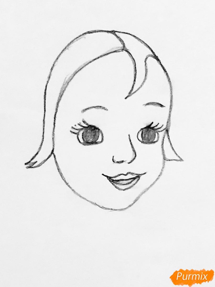 Рисуем Алёнушку из сказки Гуси лебеди - шаг 1