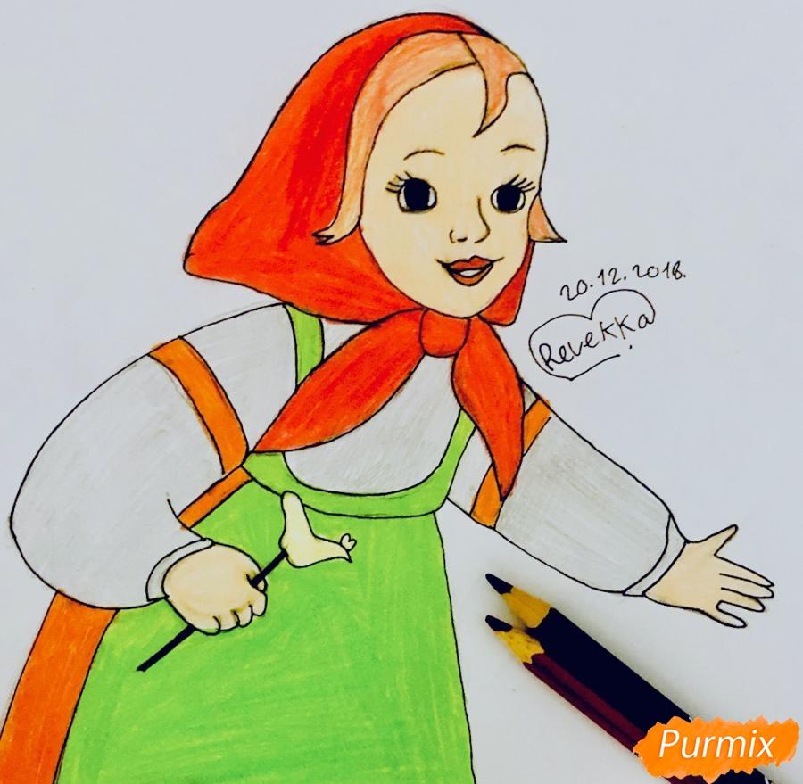 Как нарисовать Алёнушку из сказки Гуси лебеди карандашом поэтапно
