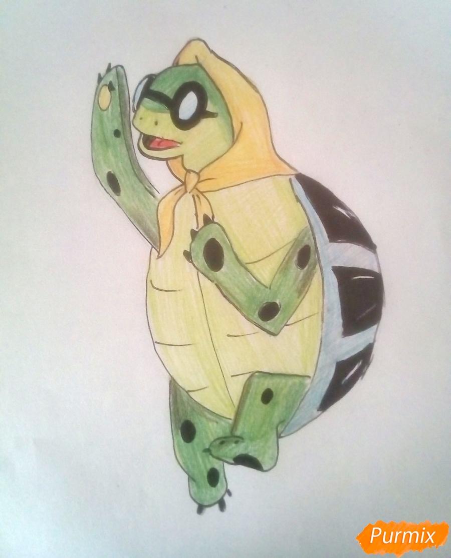 Как нарисовать черепаху Тортиллу цветными  карандашами поэтапно
