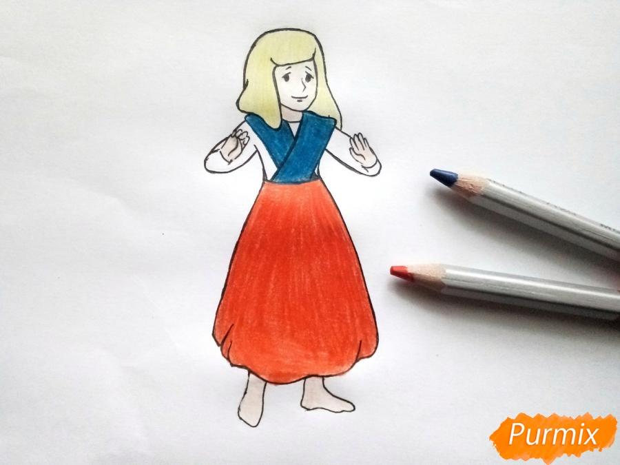 Рисуем Герду из сказки Снежная королева карандашами - фото 7