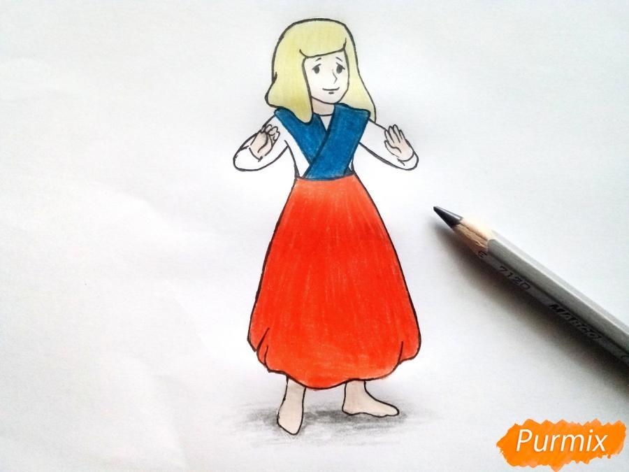 Рисуем Герду из сказки Снежная королева карандашами - фото 8