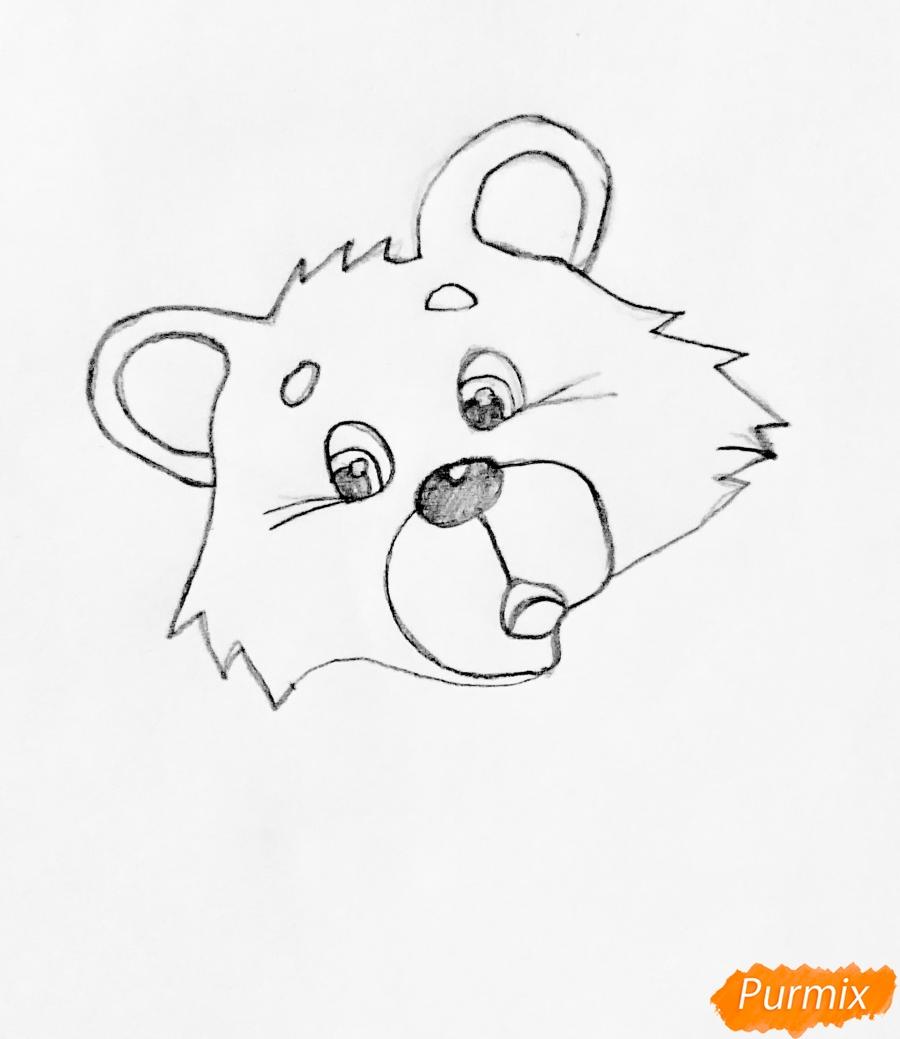 Рисуем колобка мишку и цветными карандашами - шаг 1