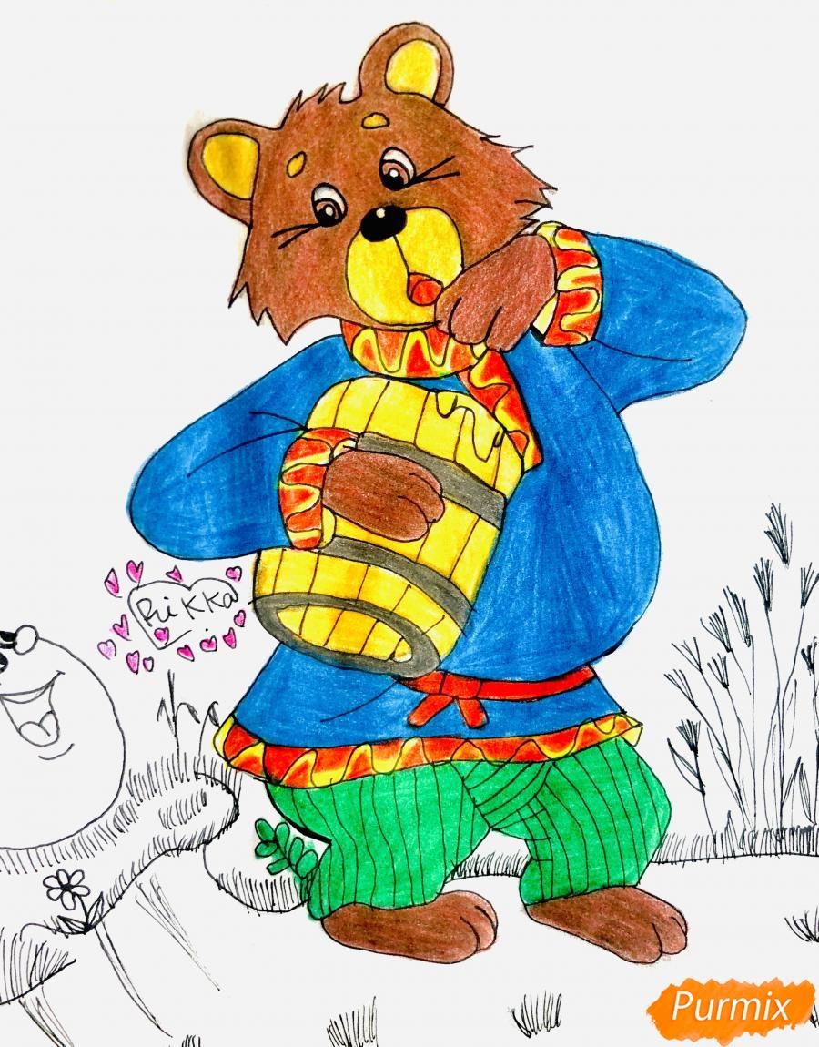 Рисуем колобка мишку и цветными карандашами - шаг 10
