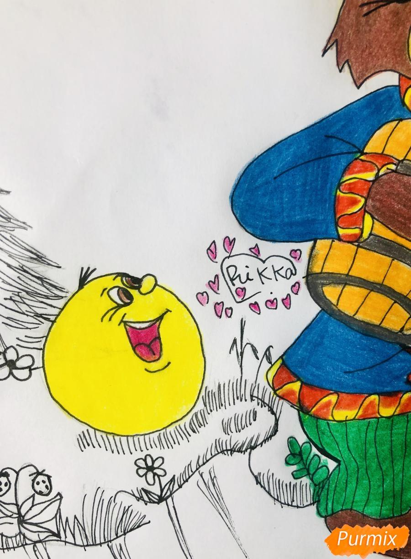 Рисуем колобка мишку и цветными карандашами - шаг 11