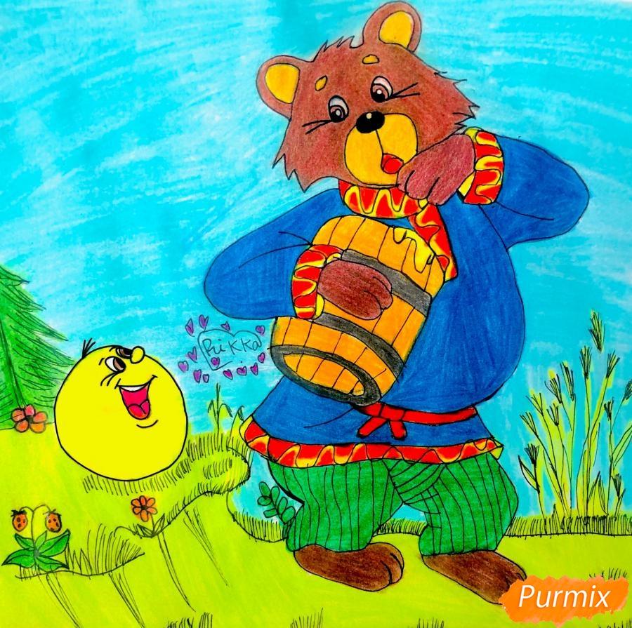 Как нарисовать колобка мишку и цветными карандашами поэтапно