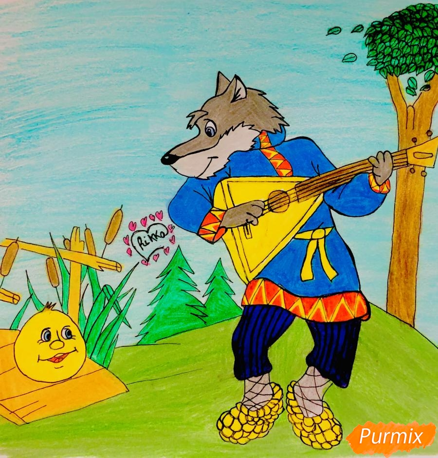 Как нарисовать волка и колобка цветными карандашами поэтапно