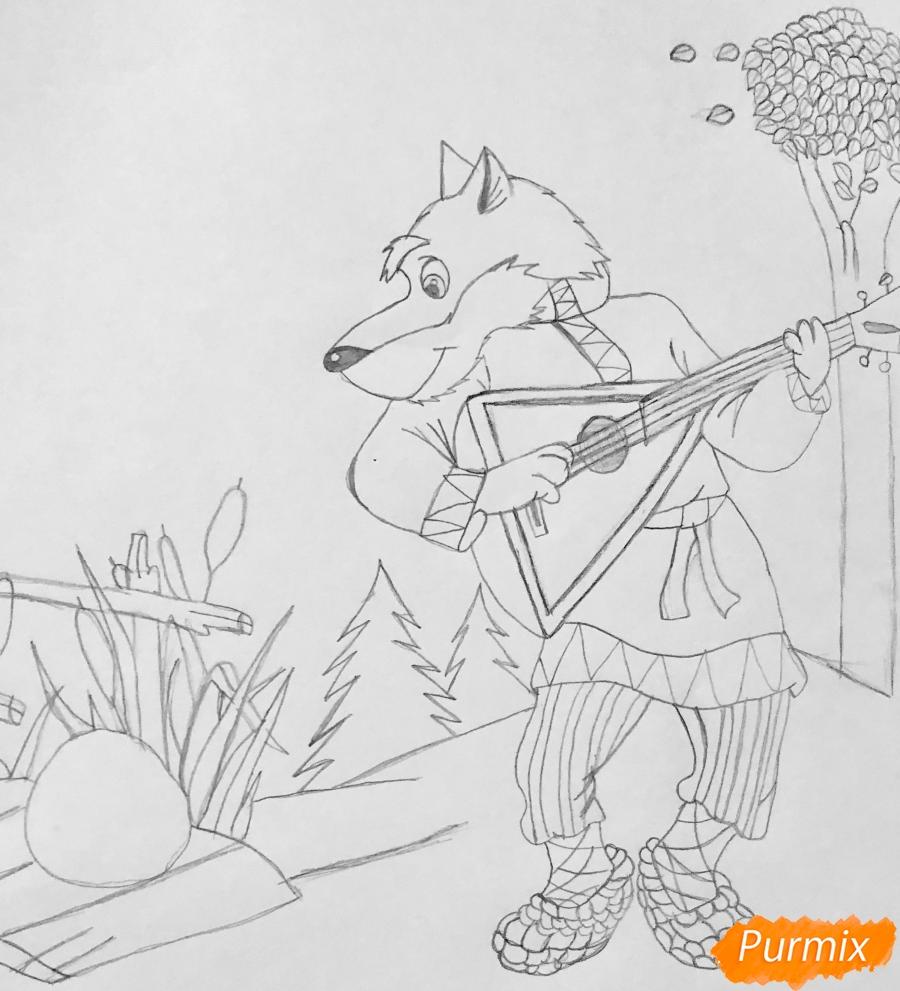 Рисуем волка и колобка цветными карандашами - фото 4