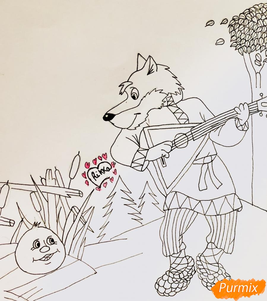 Рисуем волка и колобка цветными карандашами - фото 6