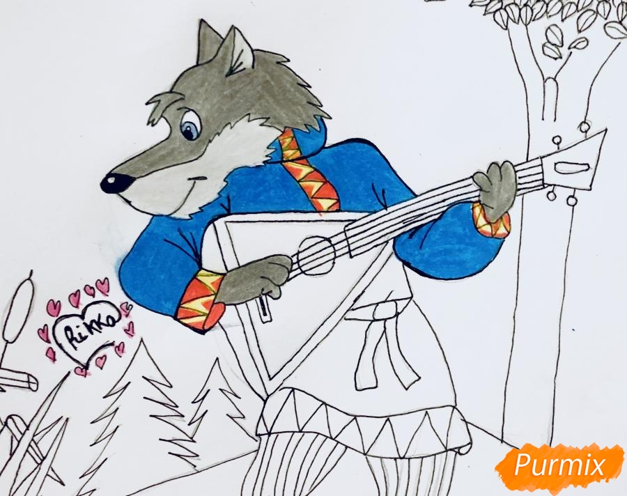 Рисуем волка и колобка цветными карандашами - фото 8