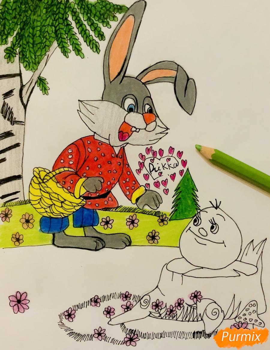 Рисуем зайца и колобка цветными карандашами - фото 11