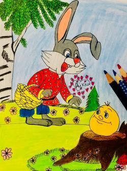 Рисунок зайца и колобка цветными