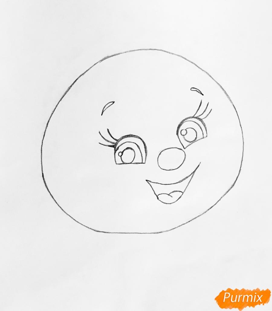 Рисуем Колобка на пеньке карандашами - фото 2