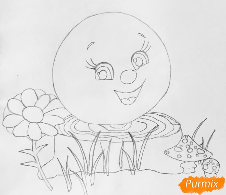 Рисуем Колобка на пеньке карандашами - фото 4