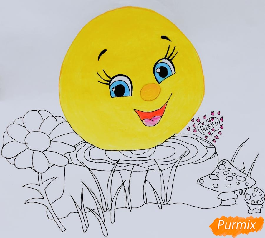Рисуем Колобка на пеньке карандашами - фото 6
