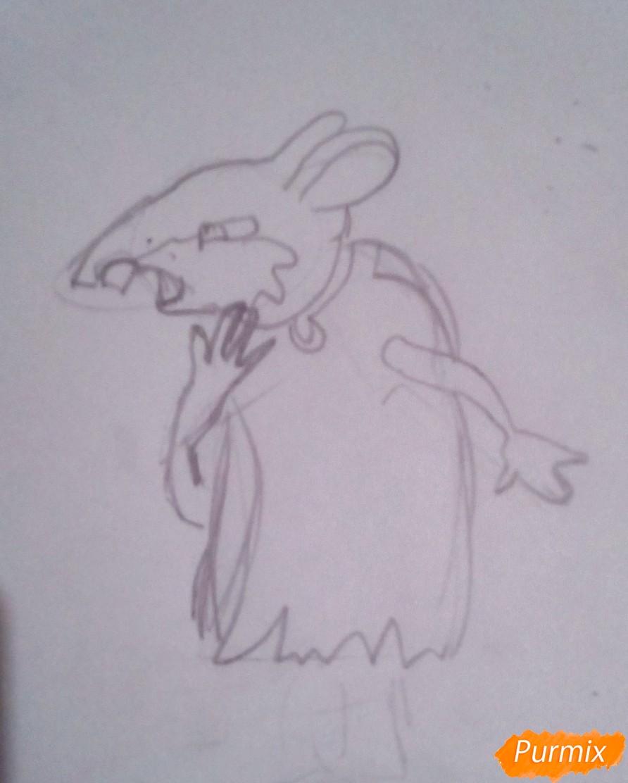 Рисуем крысу Шушера из Буратино карандашами - фото 4