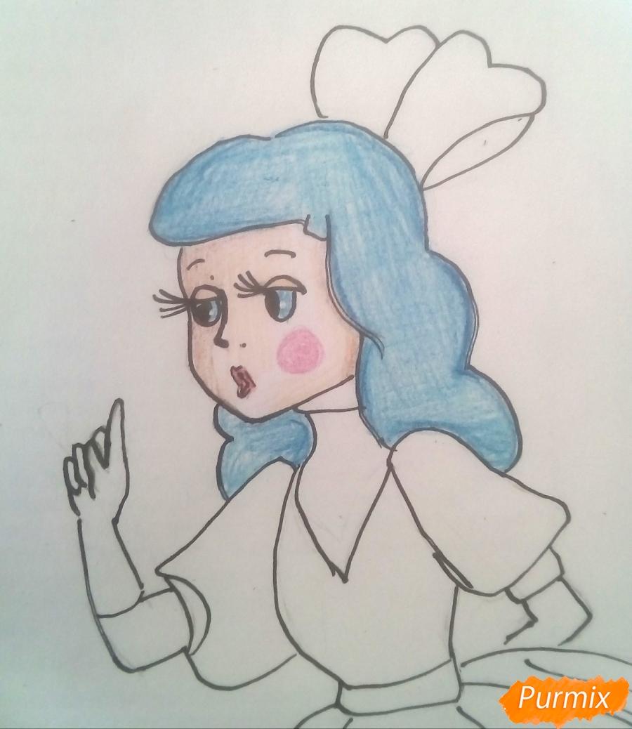 Рисуем Мальвину цветными карандашами - фото 10