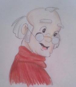 Фото папу Карло из Буратино карандашом