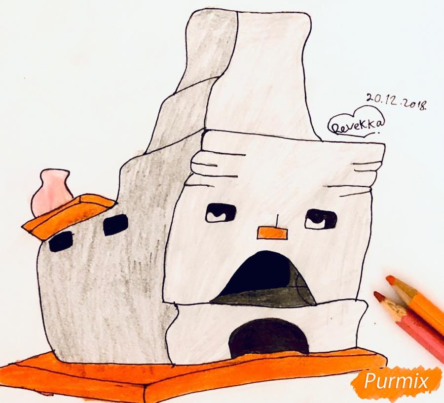Рисуем печку из сказки Гуси Лебеди поэтапно