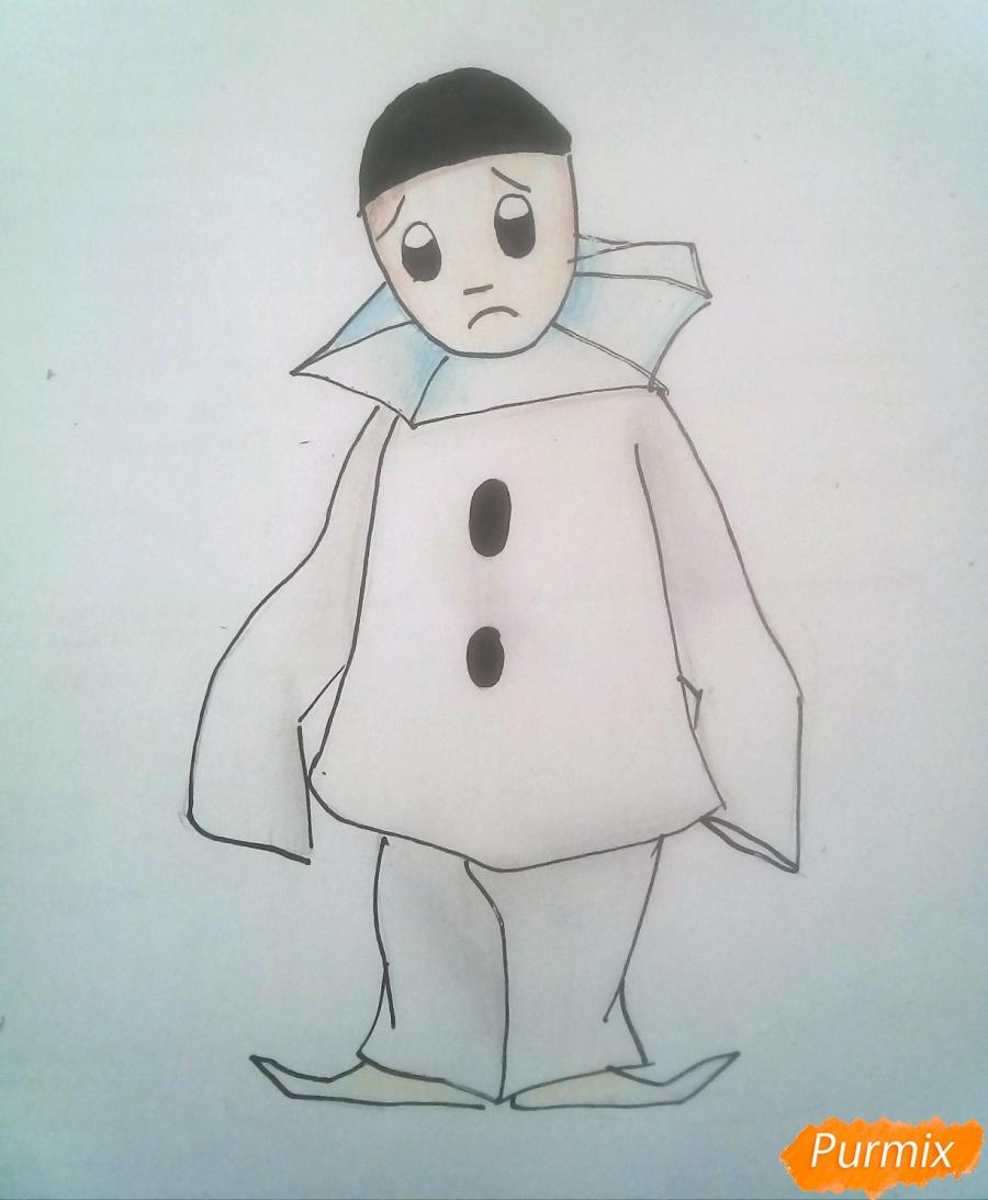 Как нарисовать грустного Пьеро карандашам поэтапно