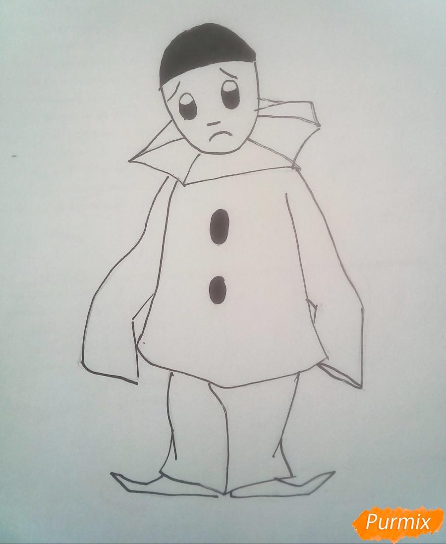 Рисуем грустного Пьеро карандашам - фото 7