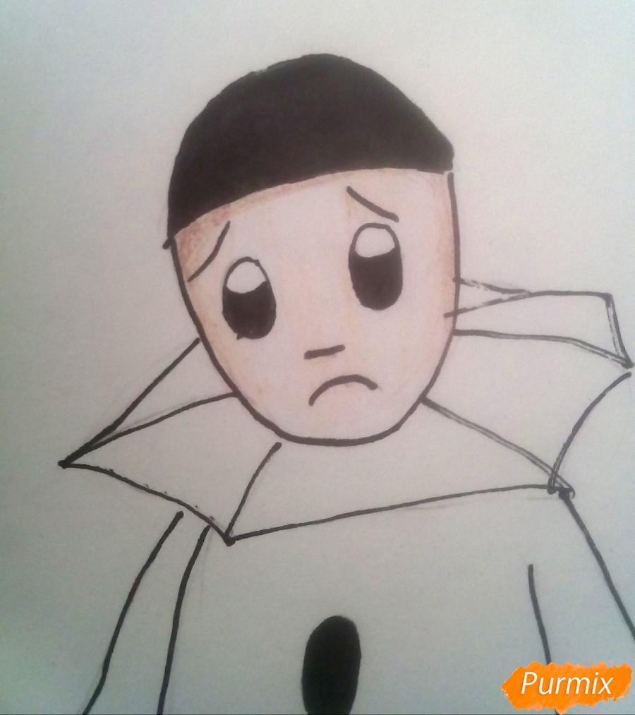 Рисуем грустного Пьеро карандашам - фото 8