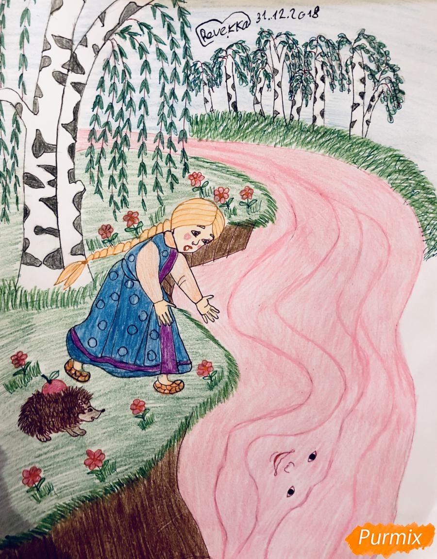 Как нарисовать молочную реку с Алёнушкой и ёжиком из сказки Гуси Лебеди карандашом поэтапно