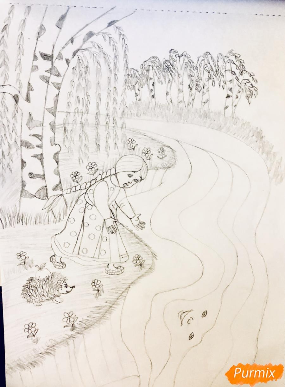Рисуем молочную реку с Алёнушкой и ёжиком из сказки Гуси Лебеди - шаг 5