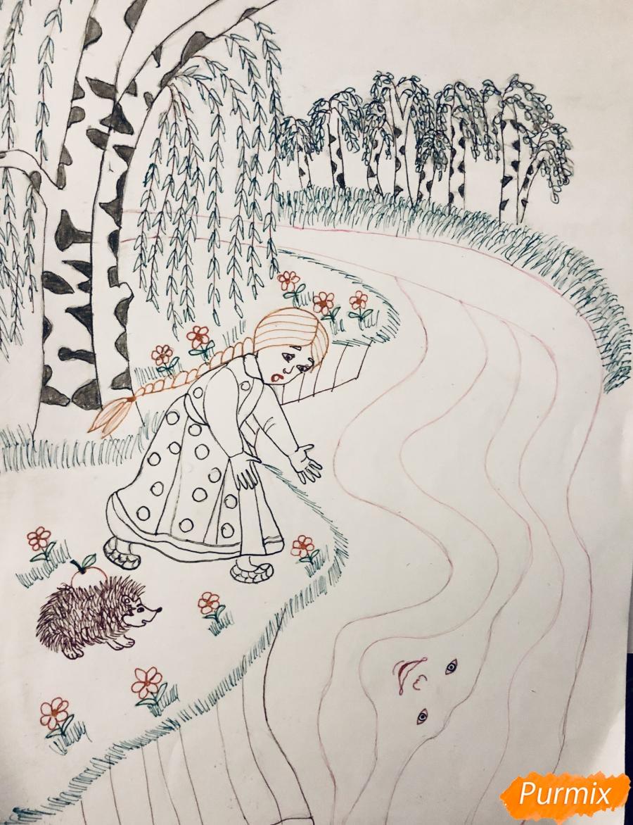 Рисуем молочную реку с Алёнушкой и ёжиком из сказки Гуси Лебеди - шаг 7