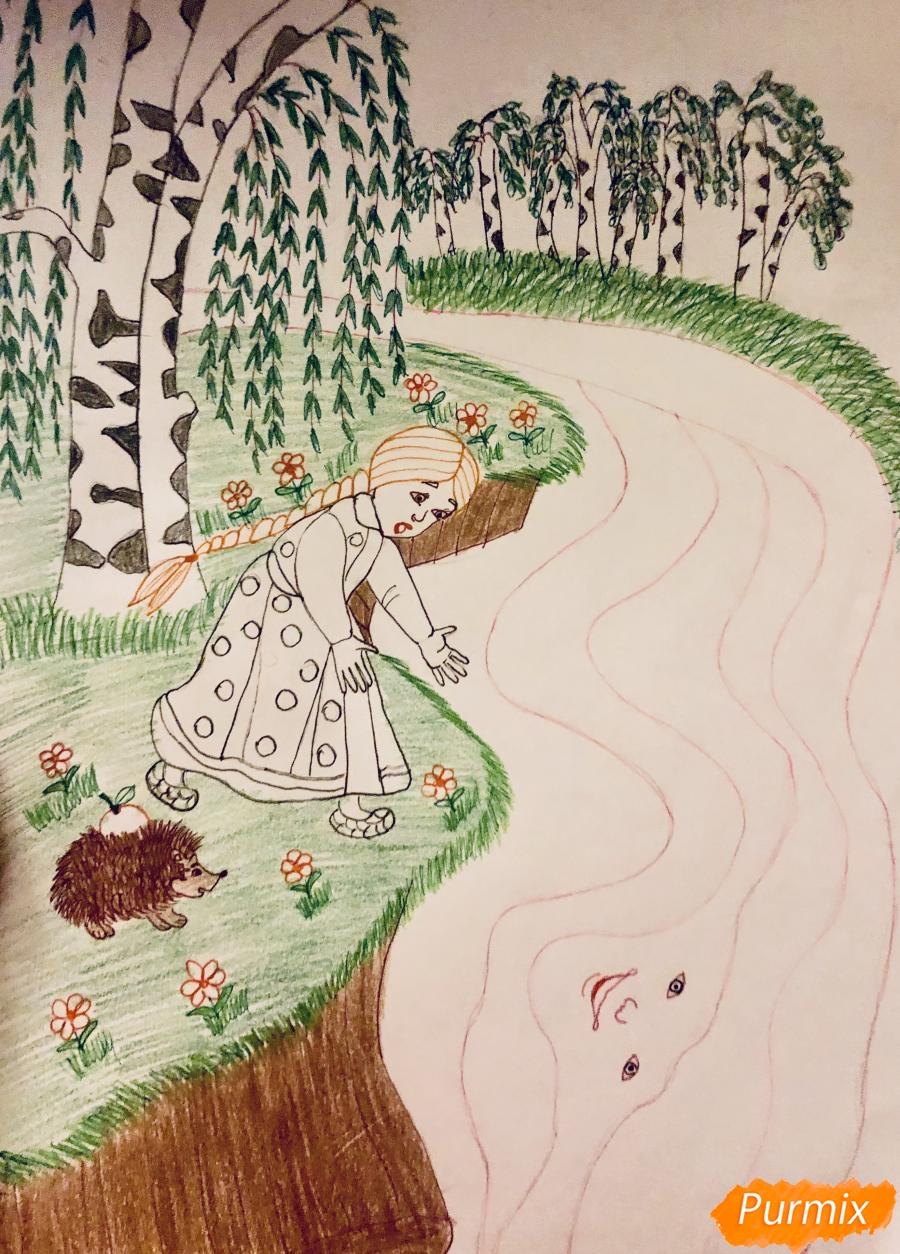 Рисуем молочную реку с Алёнушкой и ёжиком из сказки Гуси Лебеди - шаг 9