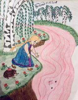 Фото Речку из сказки Гуси Лебеди карандашом