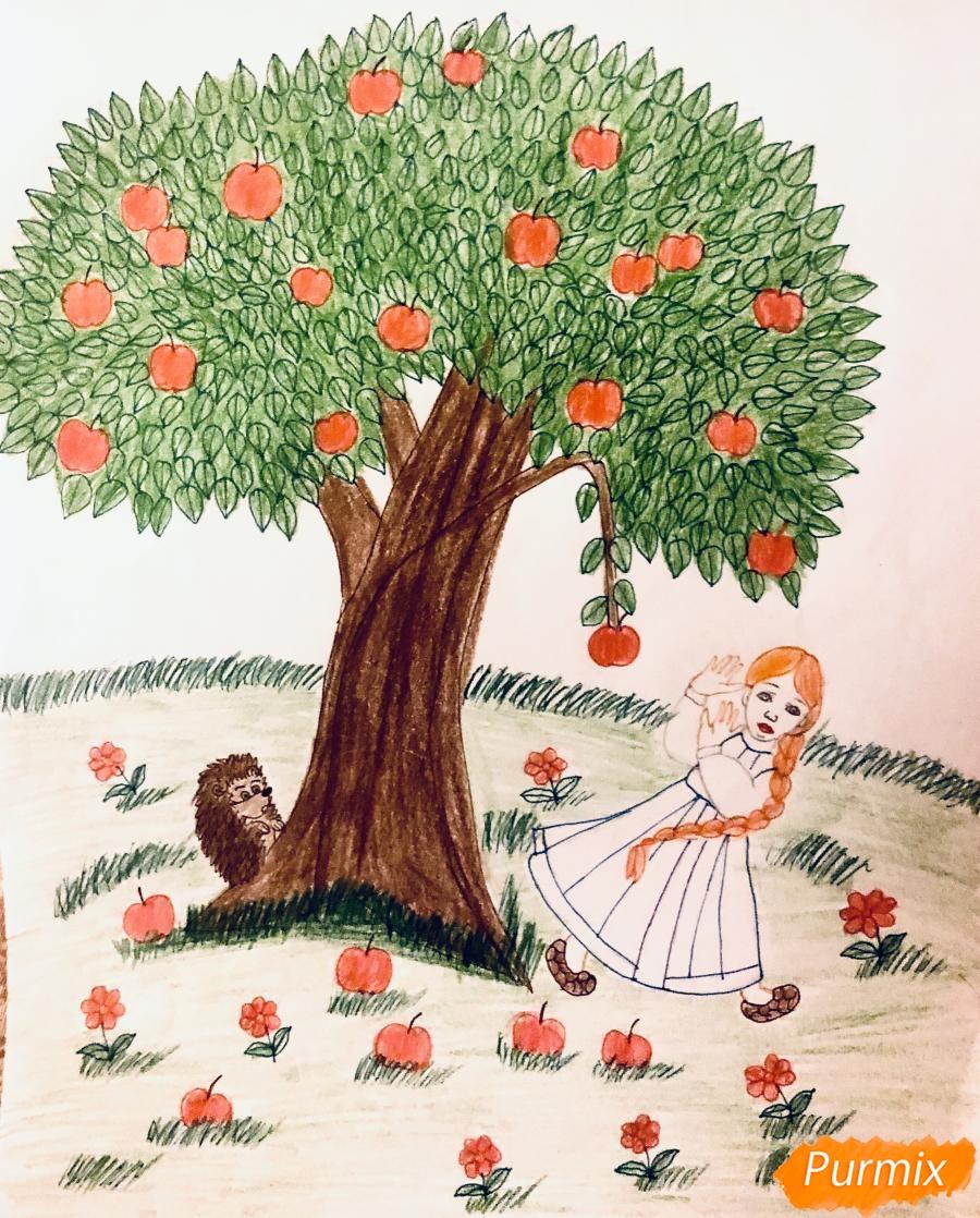Рисуем яблоню из сказки Гуси Лебеди карандашами - фото 10