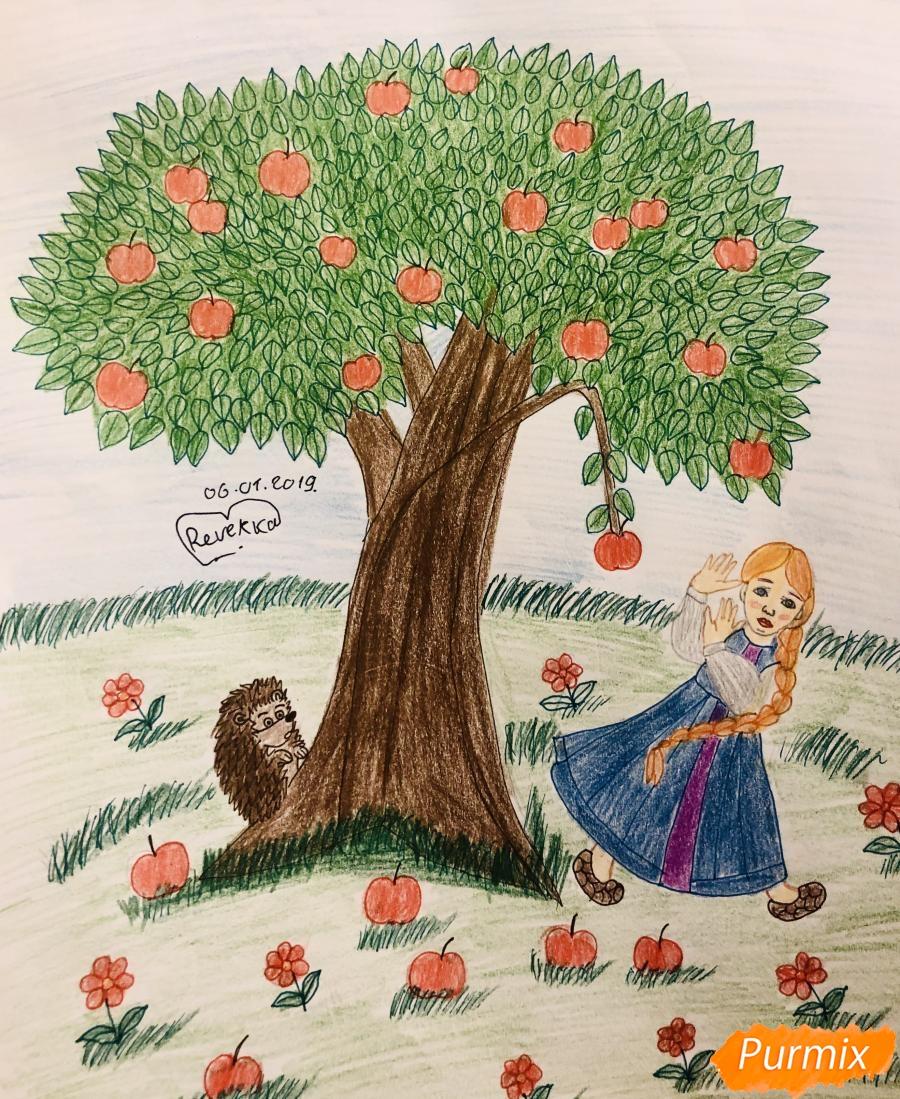 Как нарисовать яблоню из сказки Гуси Лебеди карандашами поэтапно