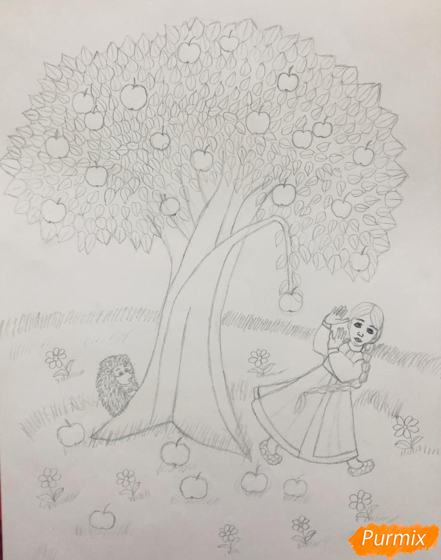 Рисуем яблоню из сказки Гуси Лебеди карандашами - фото 5