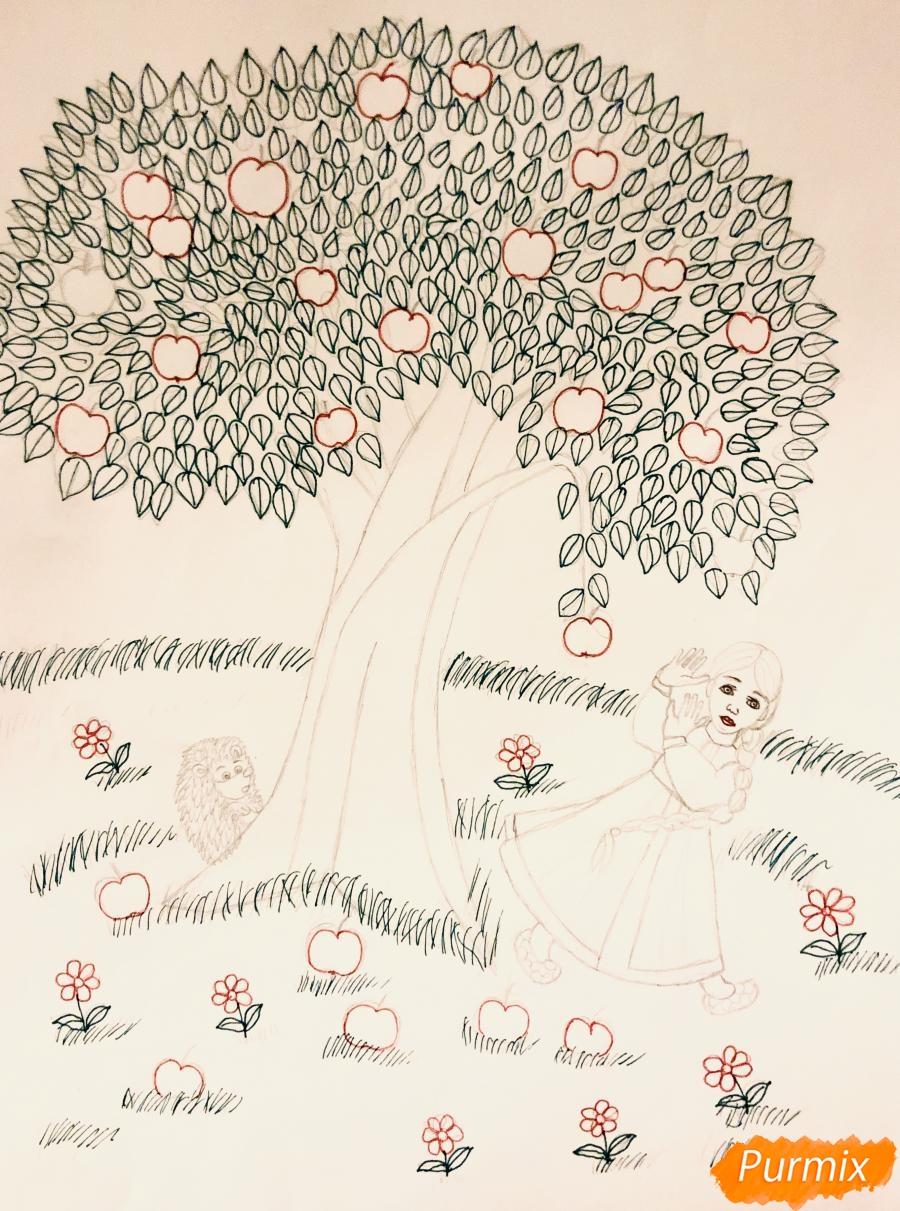 Рисуем яблоню из сказки Гуси Лебеди карандашами - фото 6