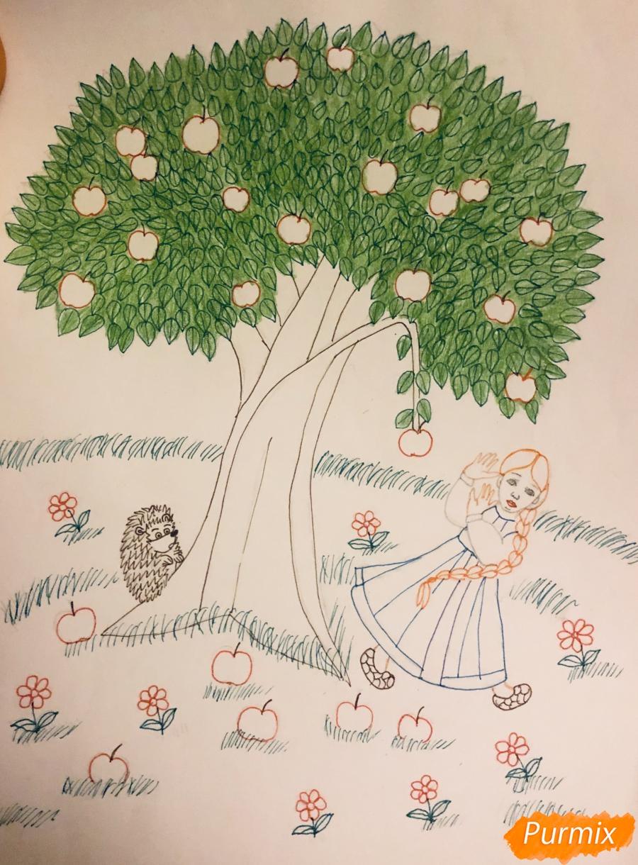 Рисуем яблоню из сказки Гуси Лебеди карандашами - фото 7