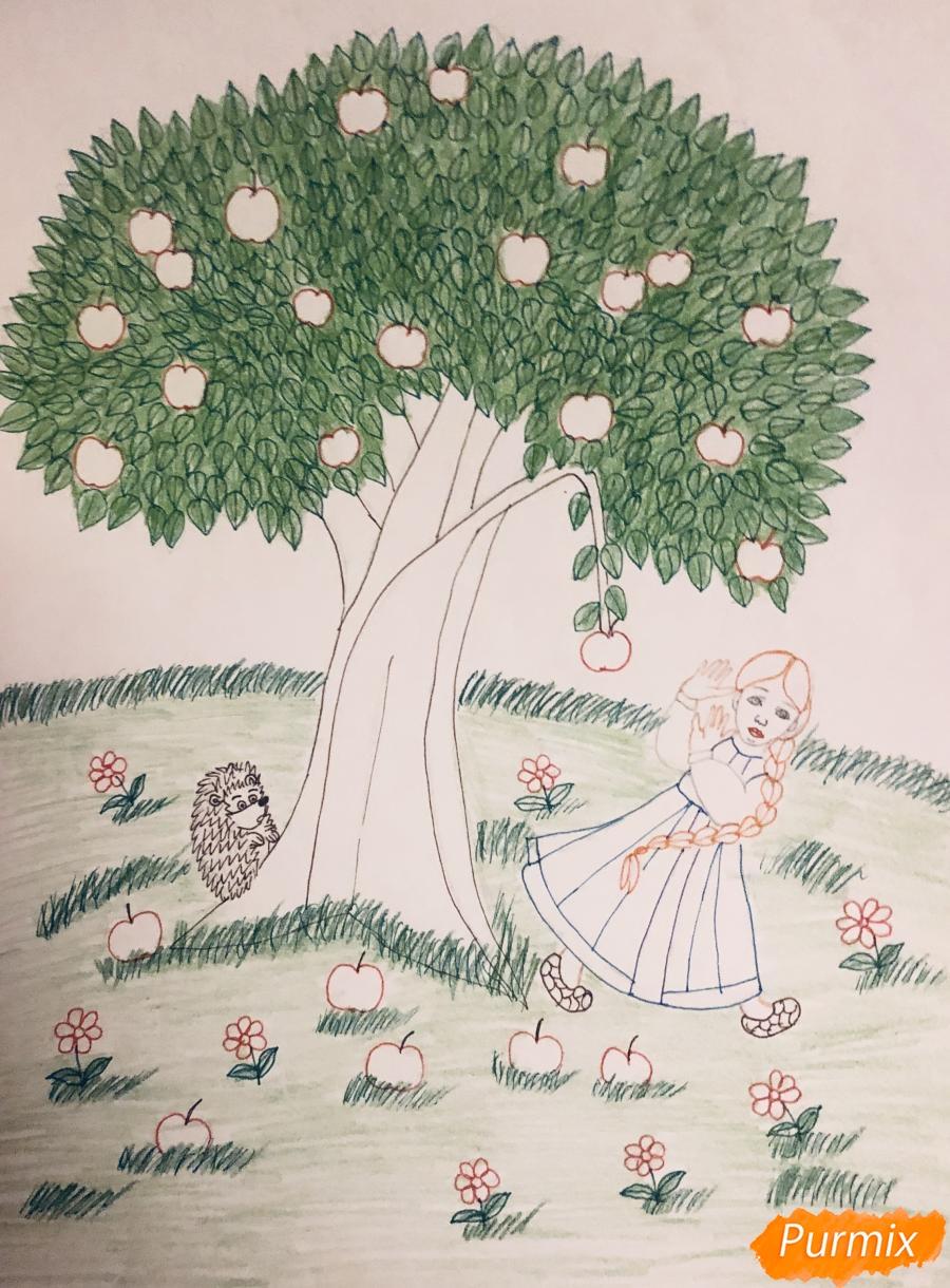 Рисуем яблоню из сказки Гуси Лебеди карандашами - фото 8