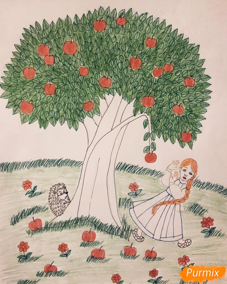 Рисуем яблоню из сказки Гуси Лебеди карандашами - фото 9
