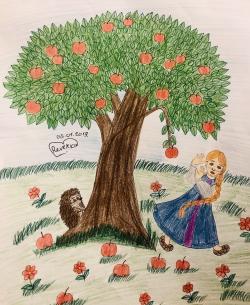 Рисунок яблоню из сказки Гуси Лебеди