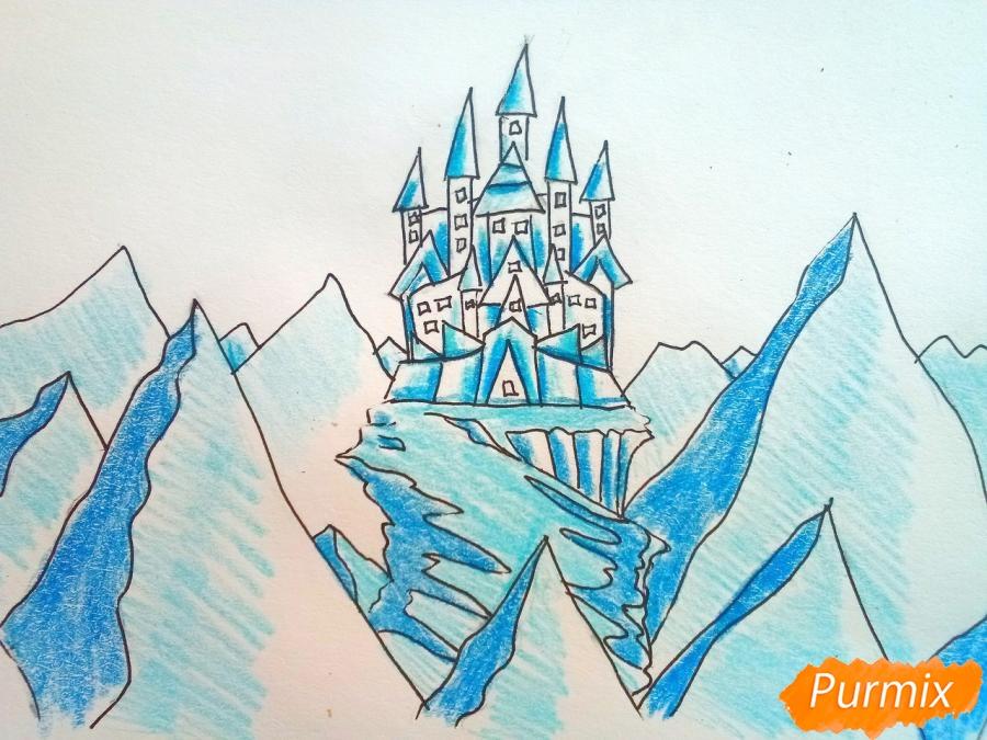 Как нарисовать замок Снежной королевы карандашами поэтапно