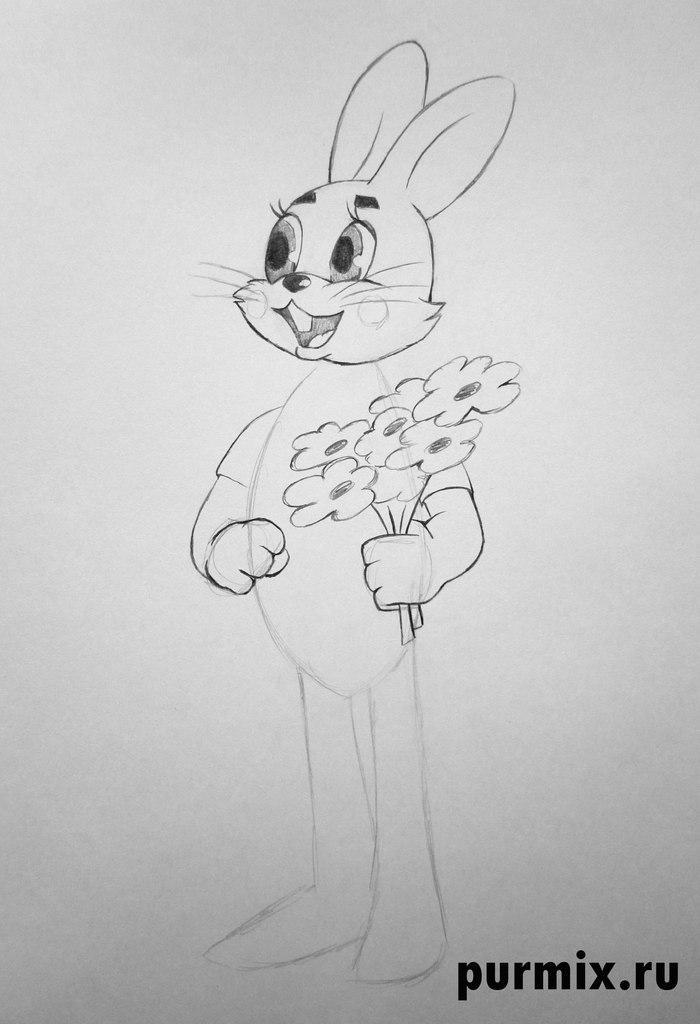 Рисуем Зайца в полный рост с цветами из Ну погоди - фото 4