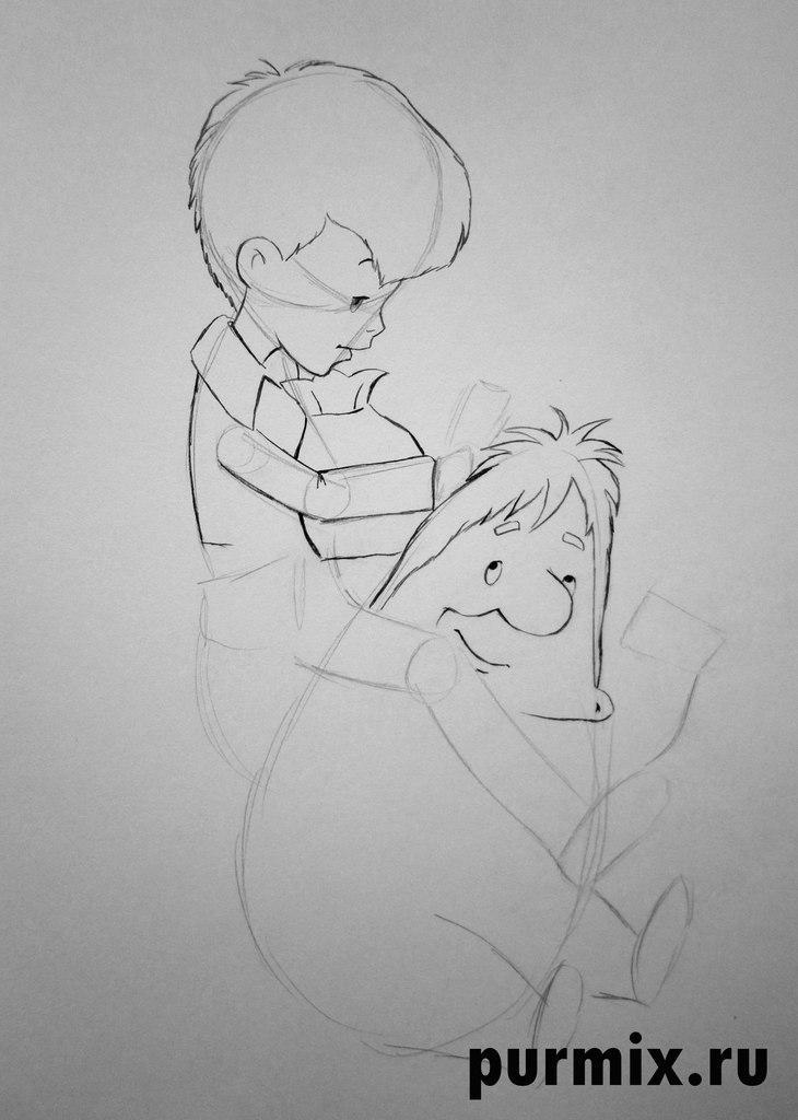 Рисуем Карлсона и Малыша простым